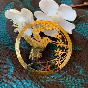 Hummingbird Gold Brooch & matching earrings